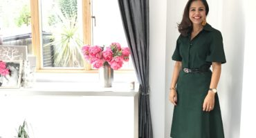 Green 3/4 length Dress with Yellow Shoes
