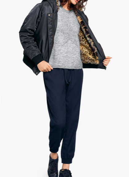 Bomber Jacket for Women with Animal Print Lining