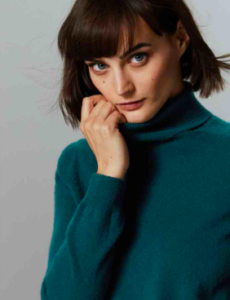 Dark Green Polo neck Cashmere Jumper for Women