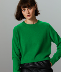 Crew Neck Cashmere Jumper in Green for Women