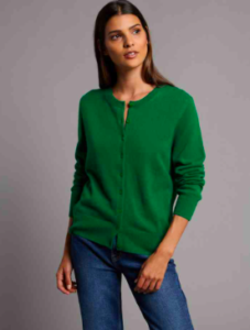 Green Cashmere Cardigan for Women
