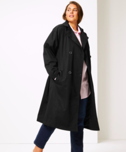 Black Women's Trench Coat Without A Belt
