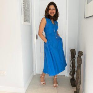 Blue silk summer dress
