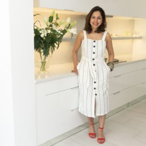 White cotton and linen dress with red sandals