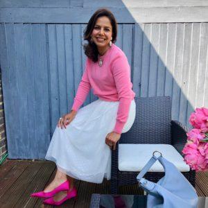 Cashmere pink crew neck jumper